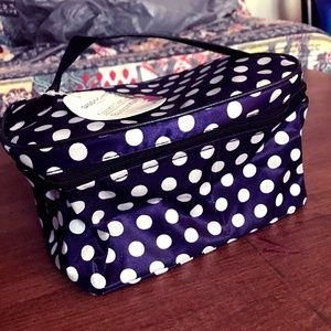 sassy+ chic cosmetic case- purple with polka dots!